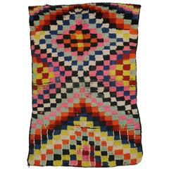 Vintage Berber Moroccan Rug with Checkerboard Design and Modern Cubism Style