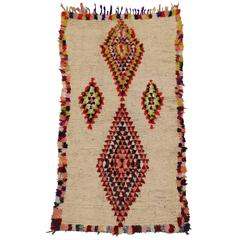 Mid-Century Modern Vintage Berber Moroccan Rug with Tribal Style, Azilal Rug