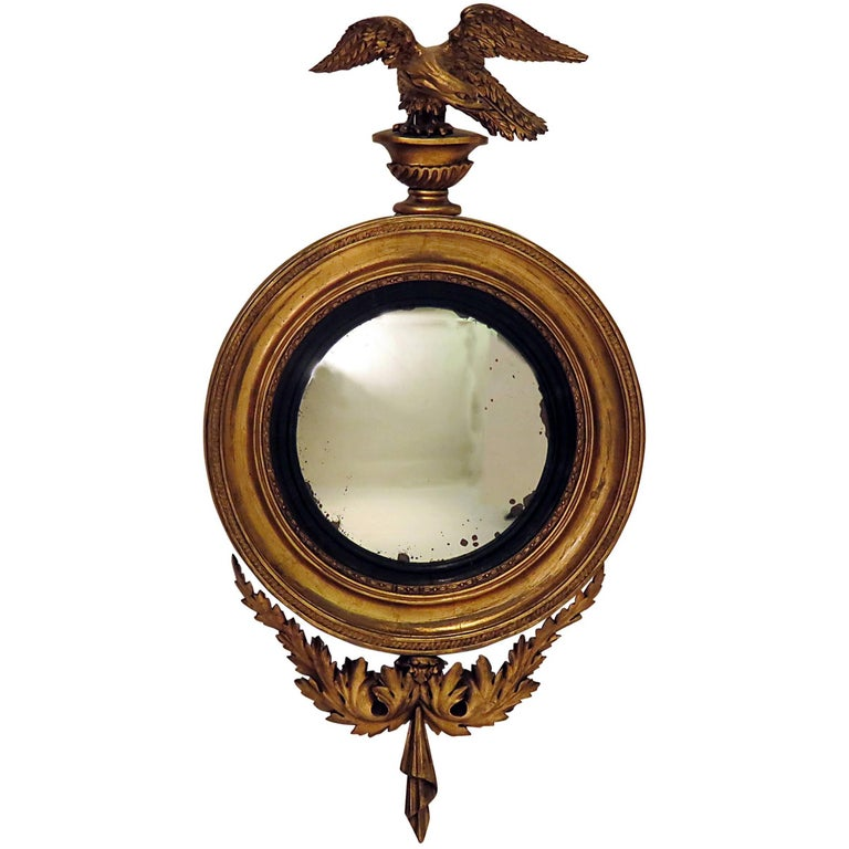 Regency Carved and Giltwood Convex Mirror, circa 1830