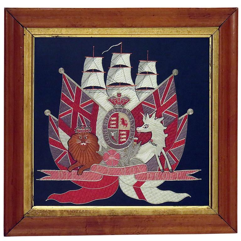 Embroidered British Framed Nautical / Honor, circa 1880 For Sale