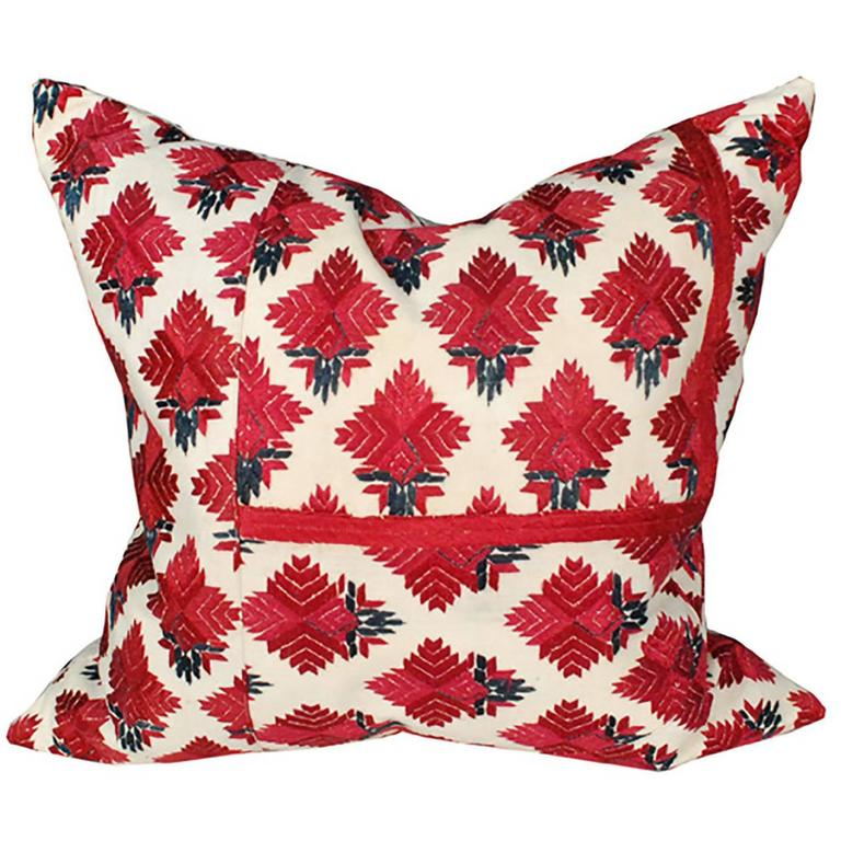 Early 20th Century Embroidered Indian Textile Pillow For Sale