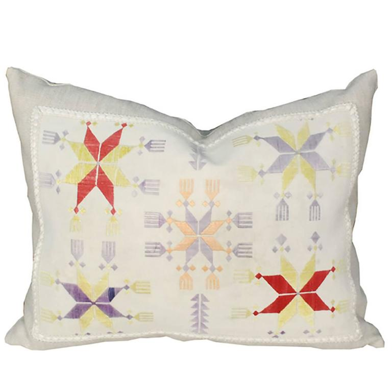 Pillow Created from Early 20th Century Central Asian Embroidery 1
