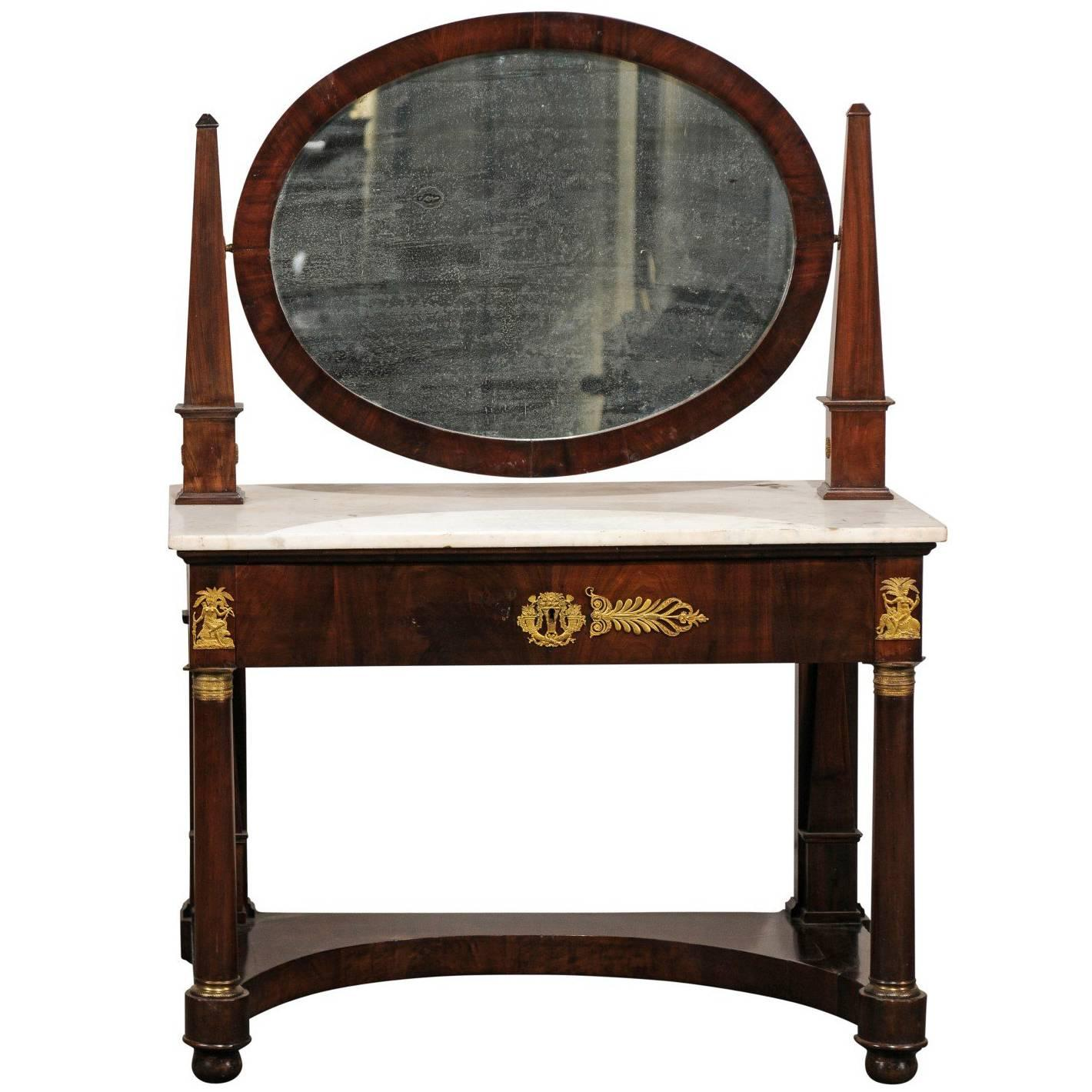 19th Century French Empire Flame Mahogany Marble Top Dressing Table with Mirror