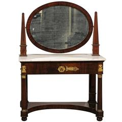 19th Century Empire Flame Mahogany Dressing Table