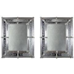 Pair of Vintage Italian Murano Glass Mirrors