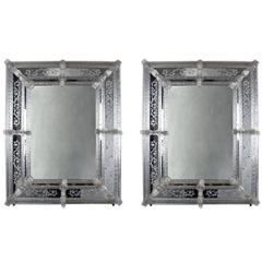 Pair of Vintage Italian Murano Glass Mirrors