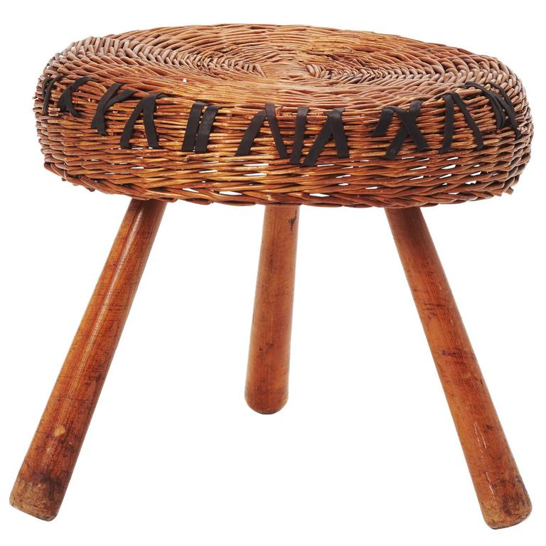 Vintage Rattan Stool By Tony Paul At 1stdibs