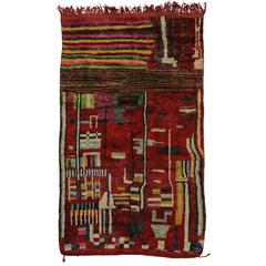 Berber Moroccan Red Rug with Modern Tribal Style