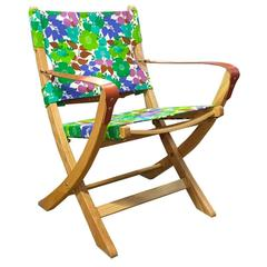 Floral Vintage Fabric Campaign Chair Greens Blues and Purples