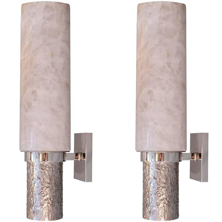 Pair of Modern Rock Crystal Quartz Sconces