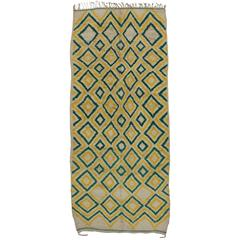 Green and Yellow Vintage Berber Moroccan Rug, Azilal Rug