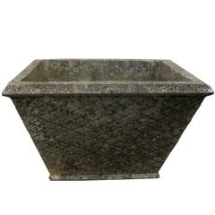 20th Century French Cast Stone Planter with Intricate Basket Weave Design
