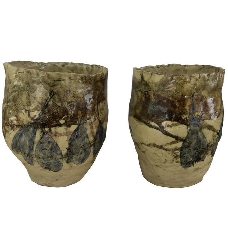 French Mid-Century Modern Pair of Hand Thrown Terra Cotta Vases in Yellow Glaze