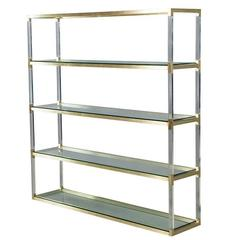 1970s Tall Brass Lucite and Glass Étagère