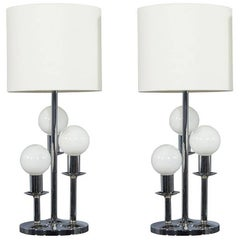 Pair of Mid-Century Globe Table Lamps