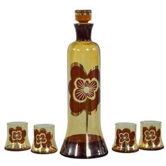 Mid-Century Vintage Amber Glass Decanter Set