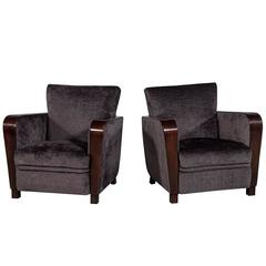 Pair of 1940s French Rosewood Lounge Chairs