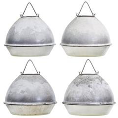 Set of four 1950s Galvanized Industrial Ceiling Lights
