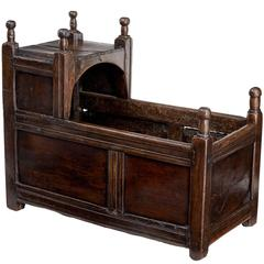 17th Century Carved Oak Cot