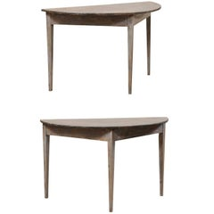 Pair of Swedish 19th Century Demi-lune Painted Wood Tables in Blue Grey Wash
