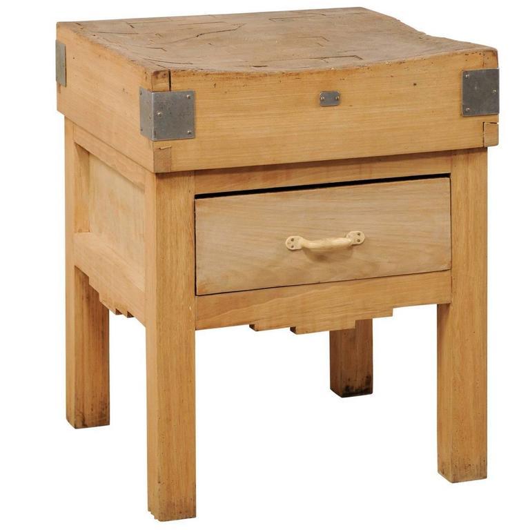Vintage Swedish Butcher Block Side Table with Geometric Skirt and Angular Legs