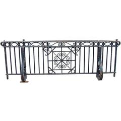 1905 Hand-Wrought Iron Juliet Balcony with Ornate Mounting Brackets