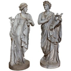Pair of French Zinc Classical Statues Representing the Arts and Sciences