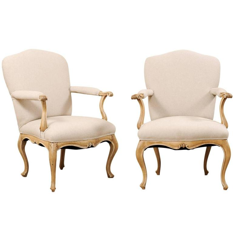 Pair of Lovely 19th Century Italian Upholstered Armchairs with Cabriole Legs