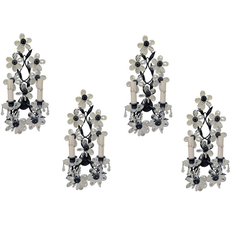 Set of Four Early 20th Century Maison Baques Style Flower Prism Sconces