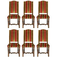 Set of Six Walnut Jacobean Style Side Chairs