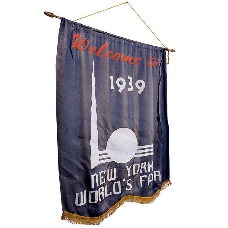 1939 New York World's Fair Welcome Banner 1