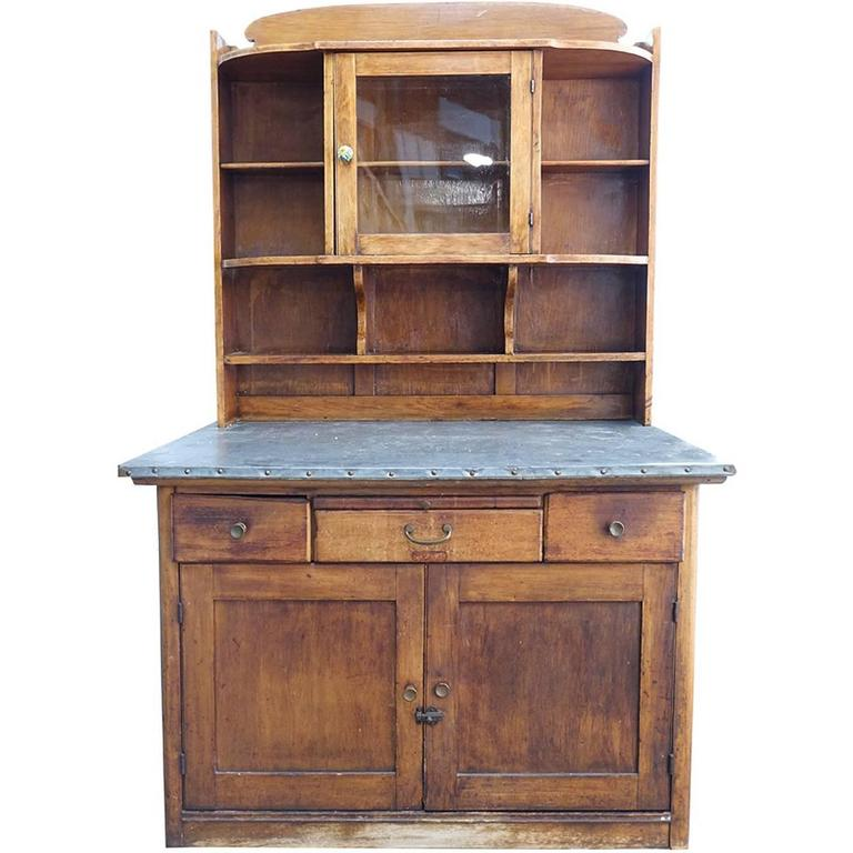 Zinc Top Arts And Crafts Style Kitchen Cupboard At 1stdibs