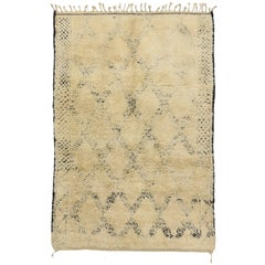 Vintage Beni Mguild Moroccan Rug with Mid-Century Modern Style