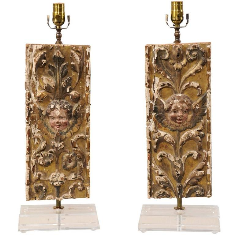 Pair of Italian 18th Century Gilded and Carved Wood Fragment Table Lamps For Sale