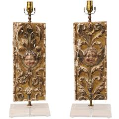 Pair of Italian 18th Century Gilded and Carved Wood Fragment Table Lamps
