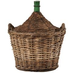 French Mid-Century Handwoven Basket with a Large Demijohn Glass Wine Bottle