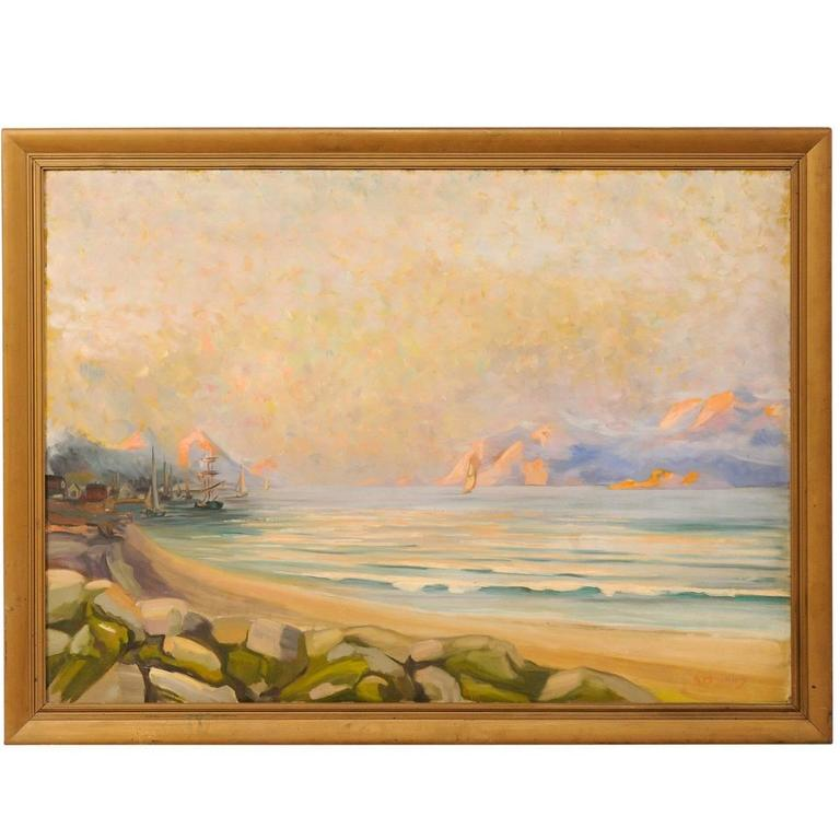 Swedish Mid-20th Century Large Oil Painting of a Rocky Seaside Landscape Scene