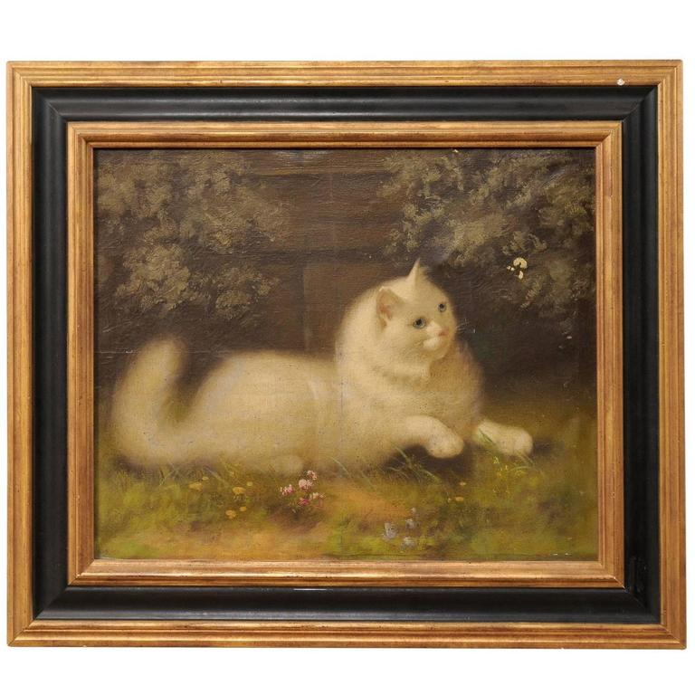 Oil Painting of White Persian Cat by Well Known Hungarian Artist Beno  Boleradsky