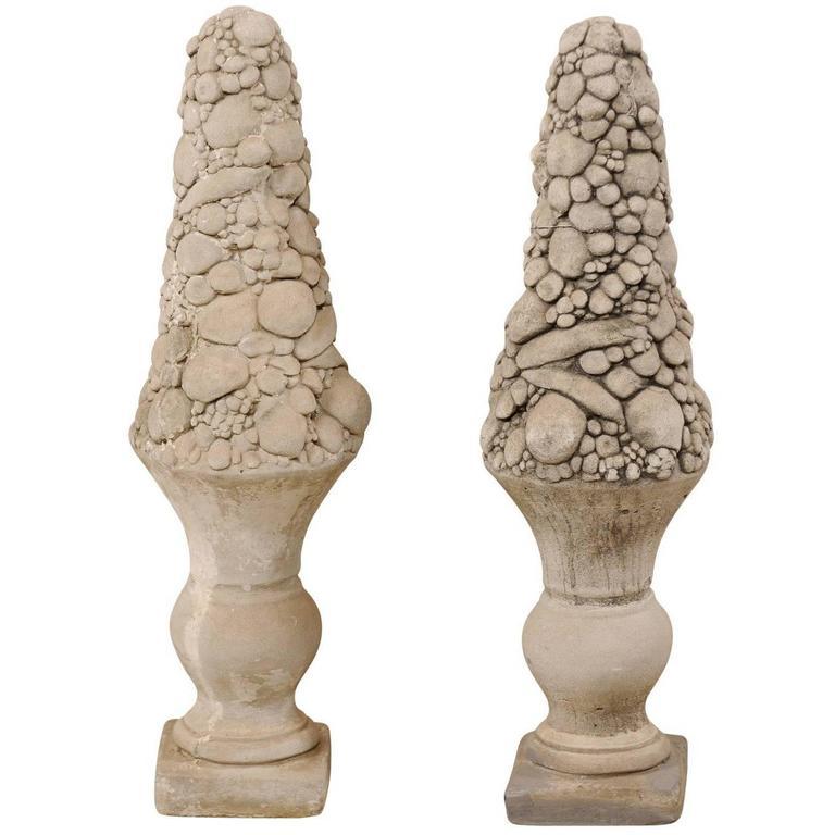 Pair of Mid-20th Century Outdoor Cast Stone Unique Fruit Motif Topiaries