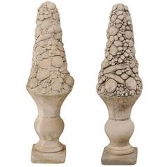 Pair of Mid-20th Century Outdoor Cast Stone Unique Fruit Motif Topiaries