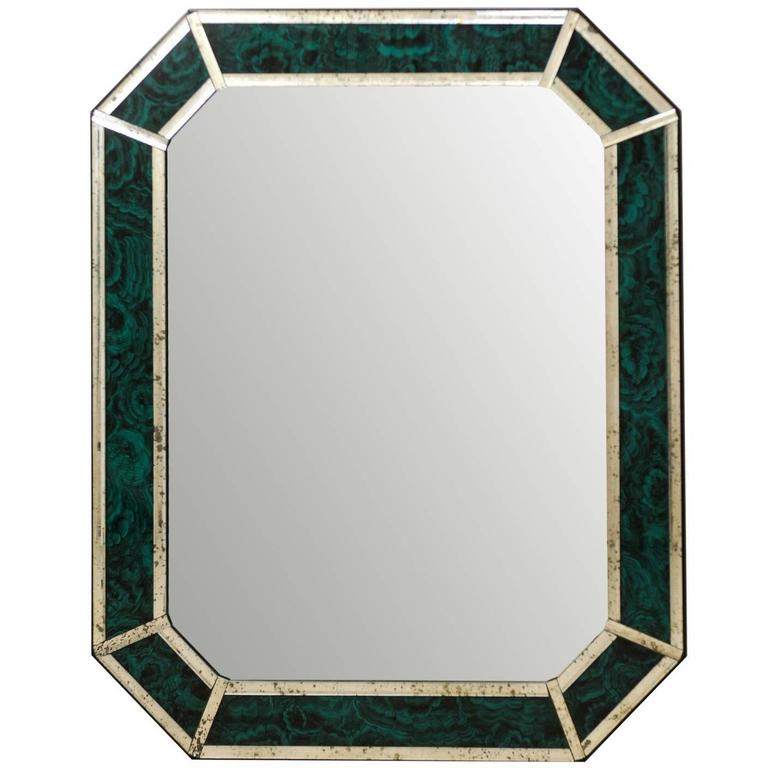 Large Size Deep Green and Teal Colored Malachite Wall Mirror with Antiqued Glass