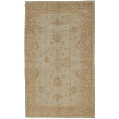 Large Turkish Oushak Rug with Floral Designs in Blue Field