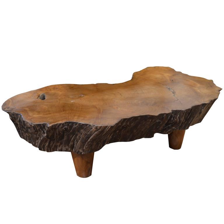 Mid century organic teak wood coffee table for sale at 1stdibs - Organic wood coffee table ...
