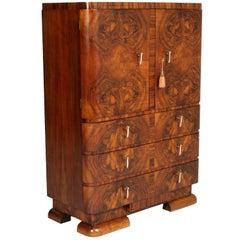 1930s Art Deco Cabinet Dresser in Burl Walnut by Crafts Cantu