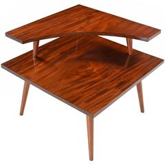 Restored Solid Mahogany Two Tier Danish Modern Corner Table, 1950's