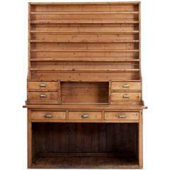 19th Century Rustic Victorian Pine Dresser and Rack