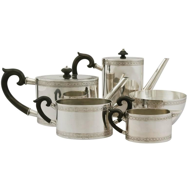 Antique Continental Silver Five-Piece Tea and Coffee Service, 1900s