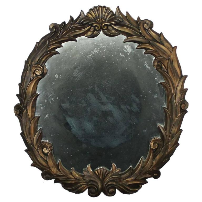 Large antique foliate round plaster mirror in the style of for Large round mirrors for sale