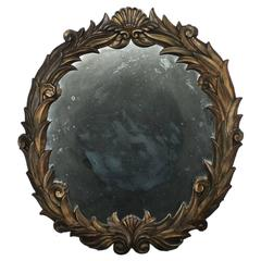 Large Antique Foliate Round Plaster Mirror in the Style of Serge Roche