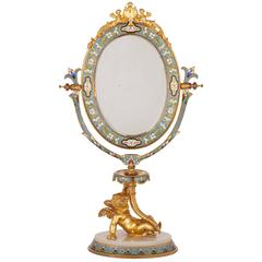 Gilt Bronze, Champlevé Enamel and Alabaster Antique French Dressing Table Mirror